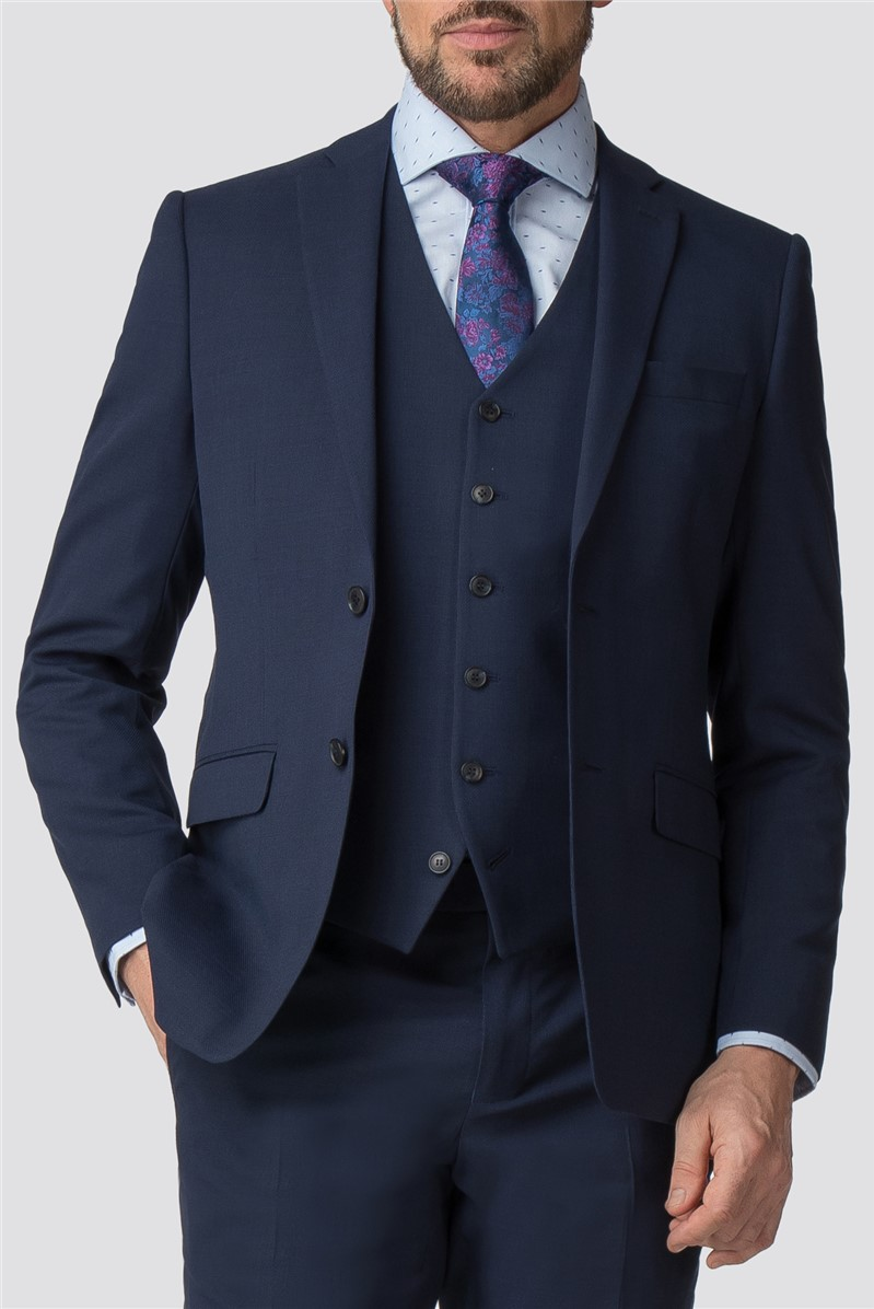 Stvdio by  Blue Textured Wool Blend Tailored Fit Suit Trouser