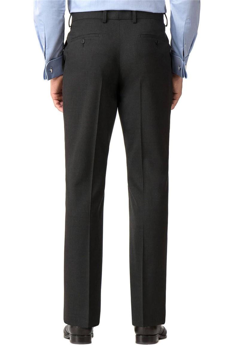 Charcoal Textured Regular Fit Travel Suit Trouser