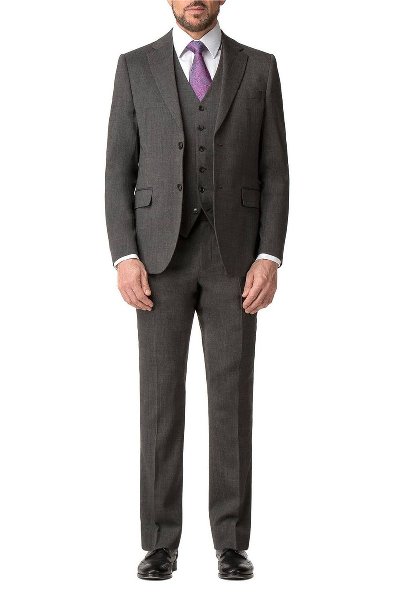 Grey Textured Regular Fit Travel Suit Trouser