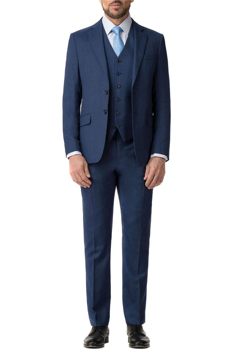 Stvdio Blue Textured Slim Fit Ivy League Suit