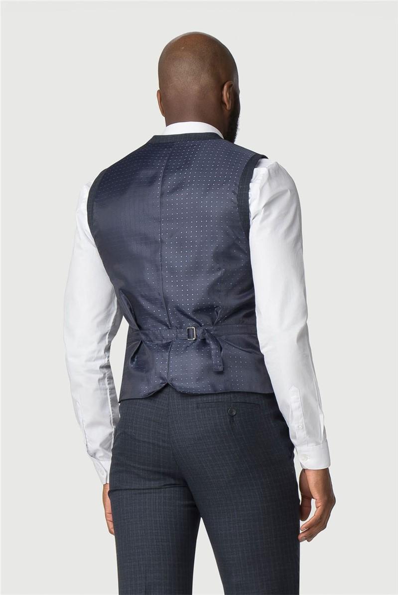 Stvdio Blue Grid Texture Tailored Fit Waistcoat