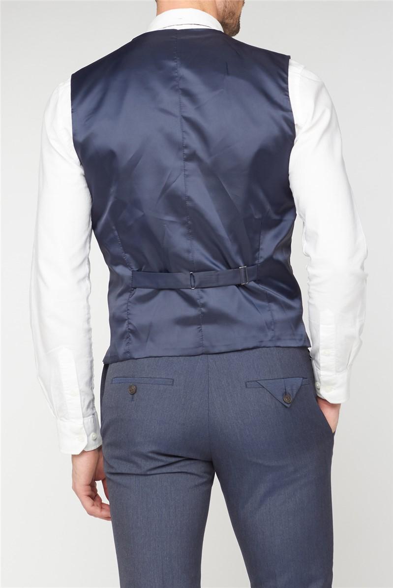 Navy Micro Check Waistcoat