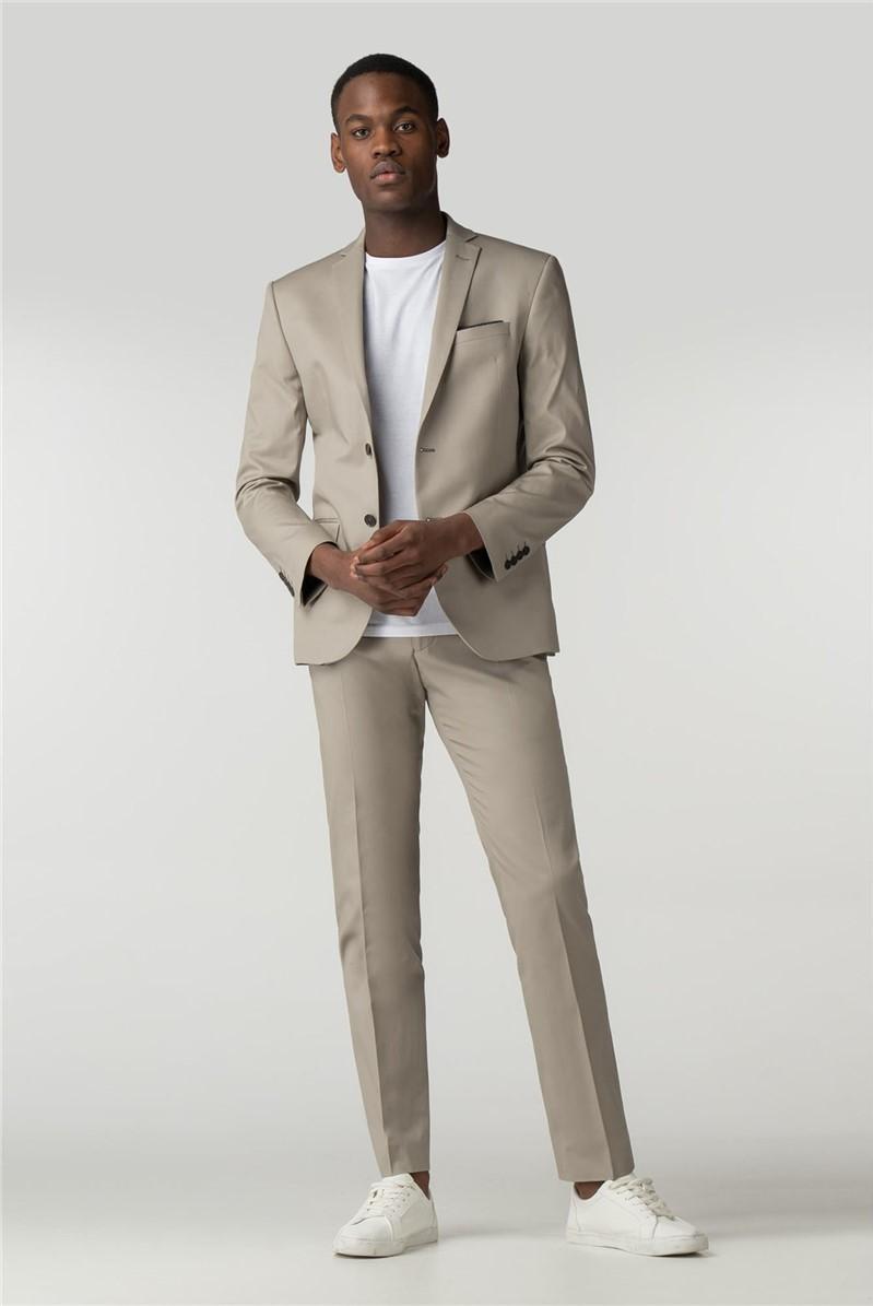 Stone Cotton Blend Suit