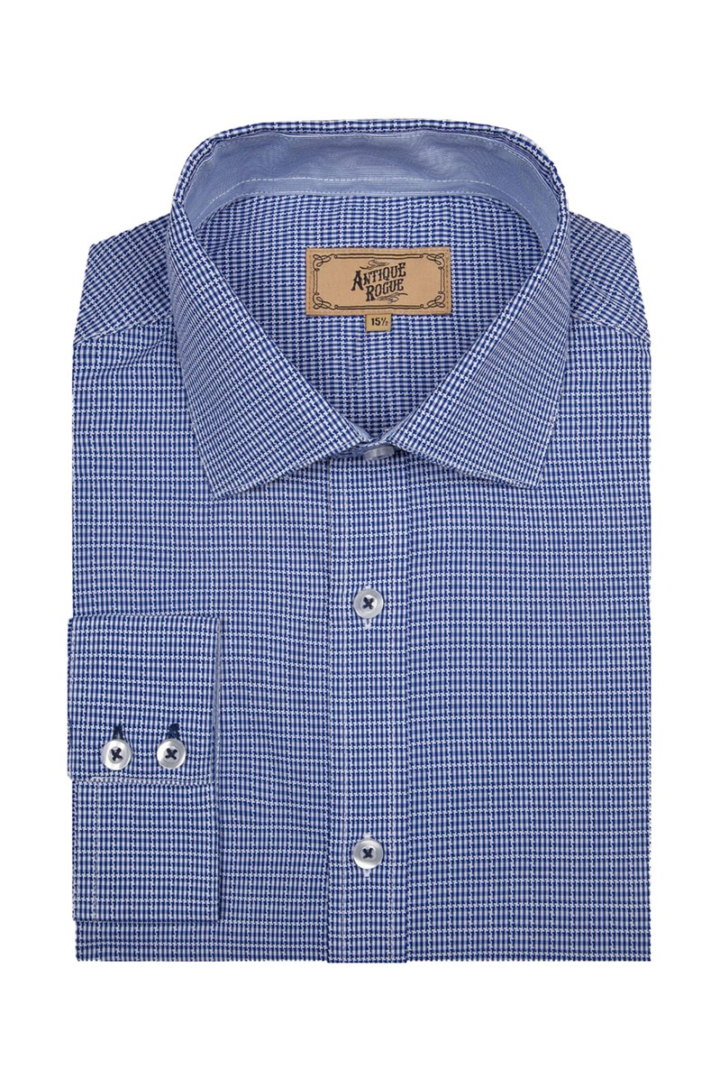 Blue and White Jacquard Check Shirt