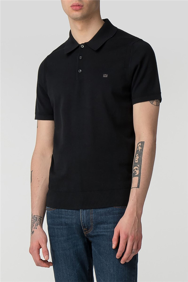 Black Short Sleeve Knitted Polo