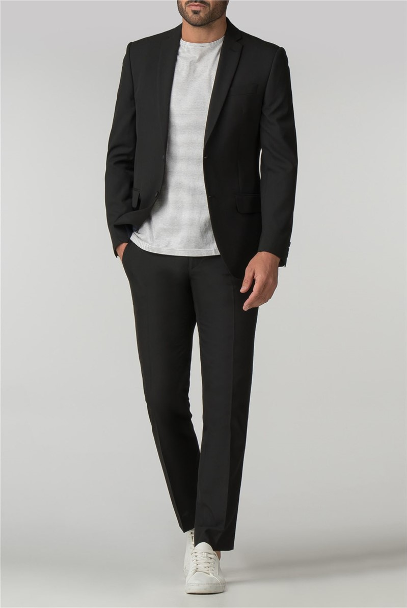 Tailored Fit Black Panama Suit Jacket
