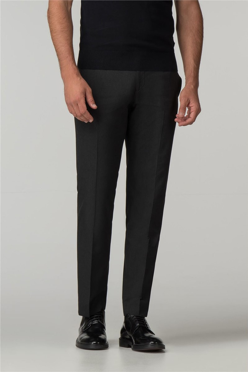 Tailored Fit Charcoal Panama Suit Trouser