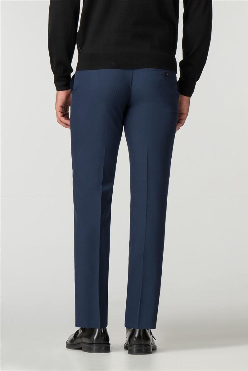 Tailored Fit Blue Panama Suit Trouser