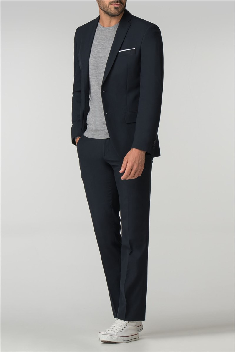 Tailored Fit Navy Panama Suit