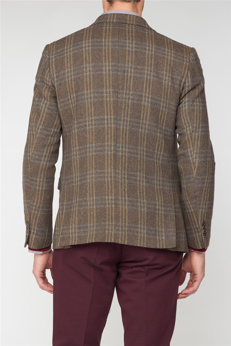 Casual Wool blend brown large check blazer