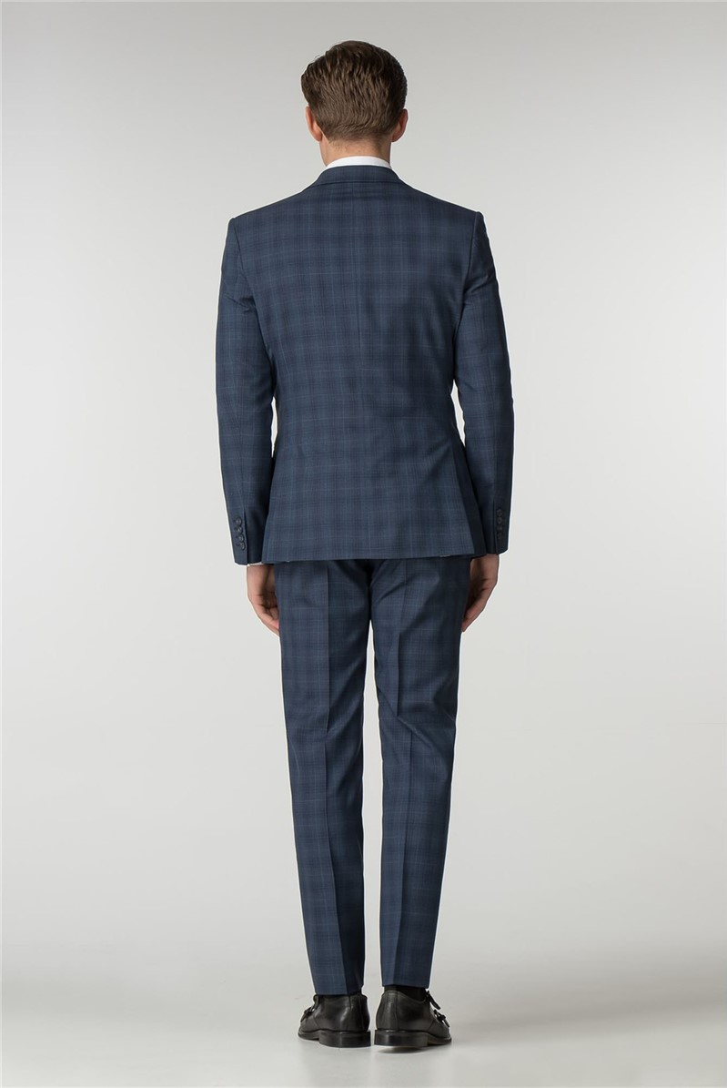 Athletic Fit Blue Check Suit