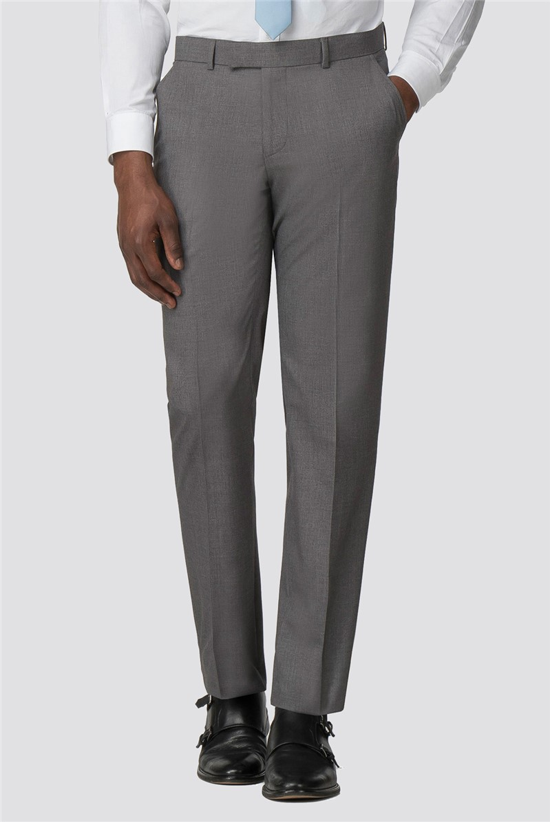 Grey Plain Tailored Fit Trousers