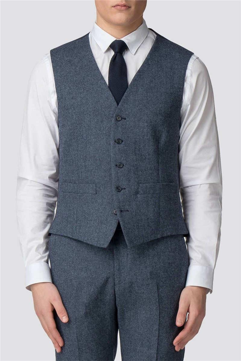 Airforce Blue Donegal Slim Fit Vest