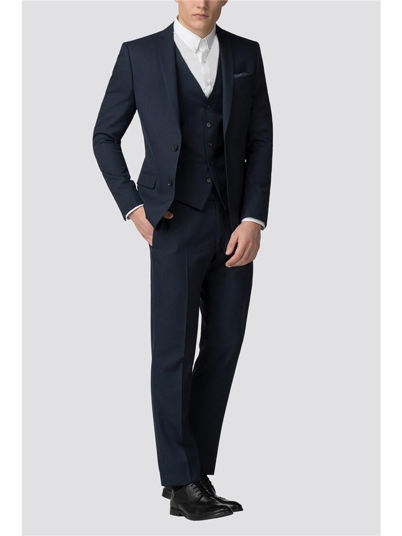 Deep Blue Semi Plain Slim Fit Suit