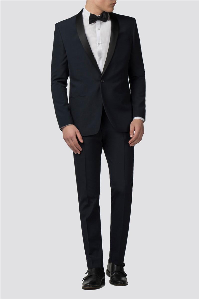 Branded Navy Slim Fit Tuxedo Trousers