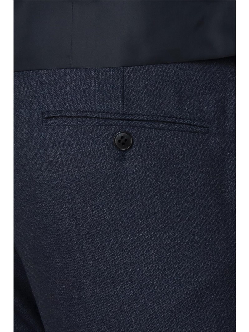 Blue Textured Check Skinny Fit Trousers