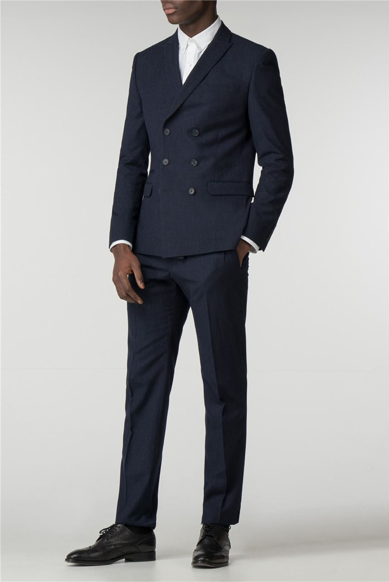 Navy Textured Slim Fit Double Breasted Suit