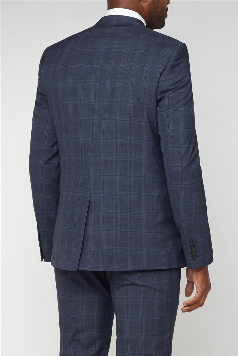 Navy + Light Blue Overcheck Slim Fit Suit
