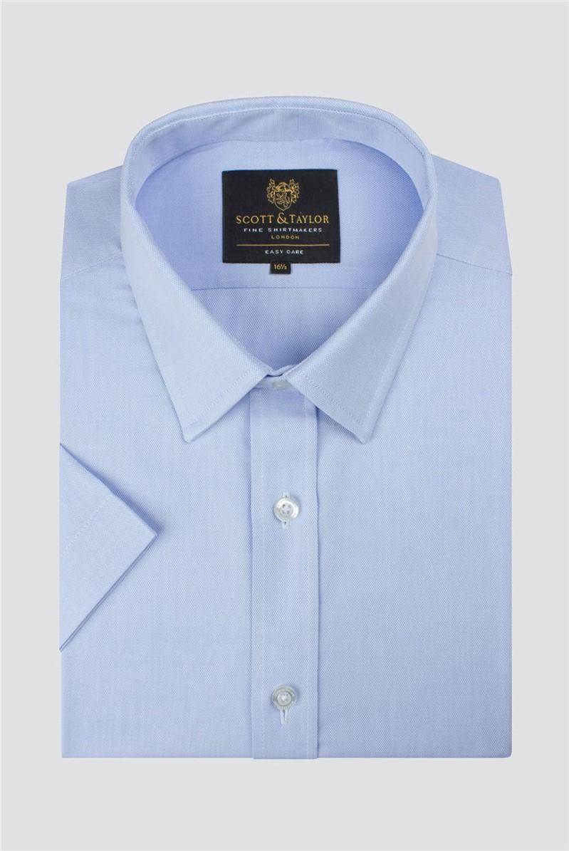 Blue Semi Plain Short Sleeve Shirt
