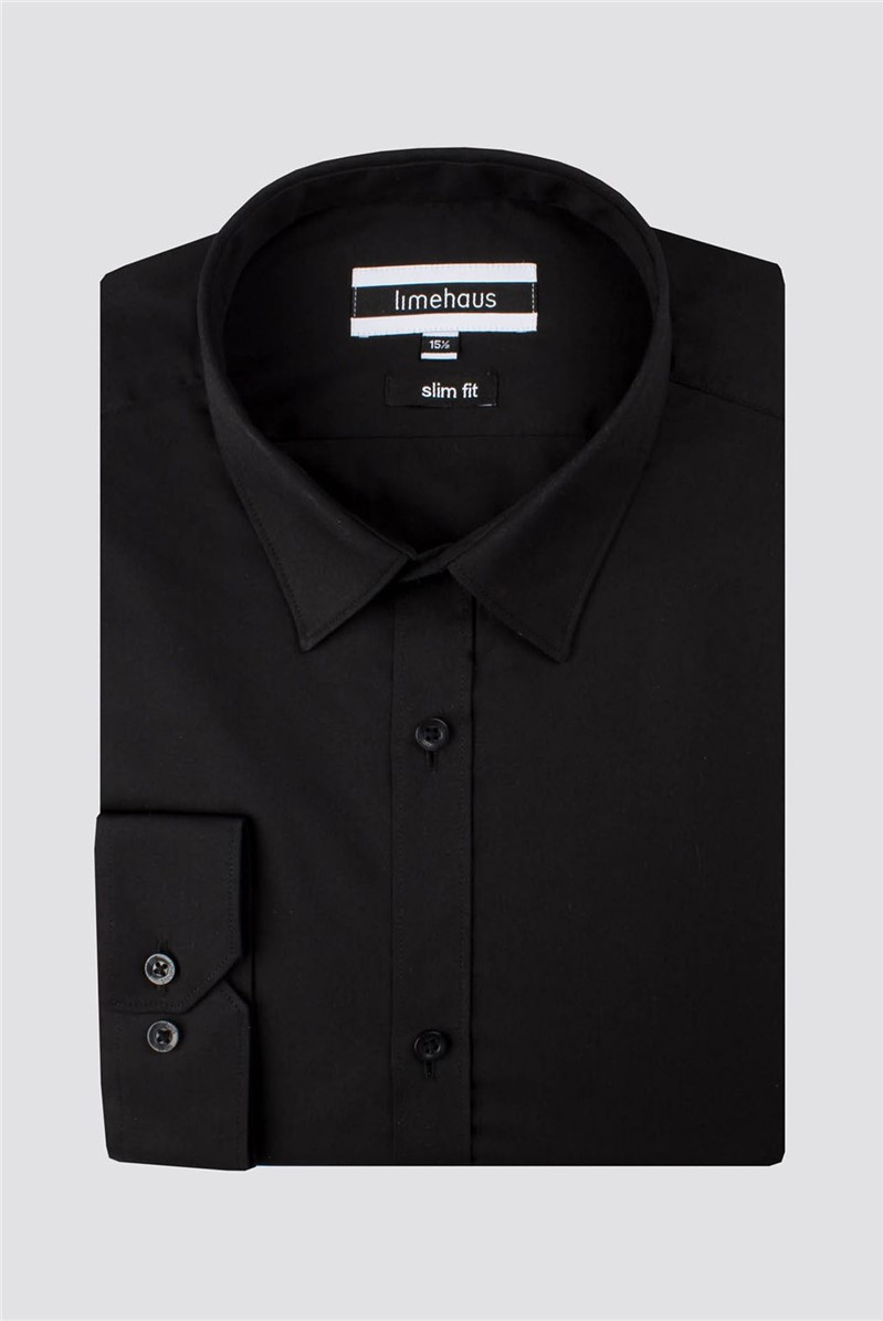 Limehaus Black Poplin Slim Fit Shirt