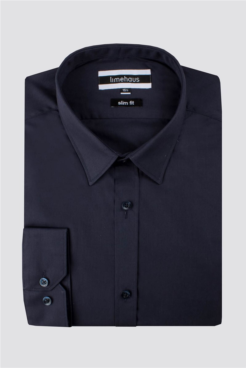 Limehaus Navy Poplin Slim Fit Shirt