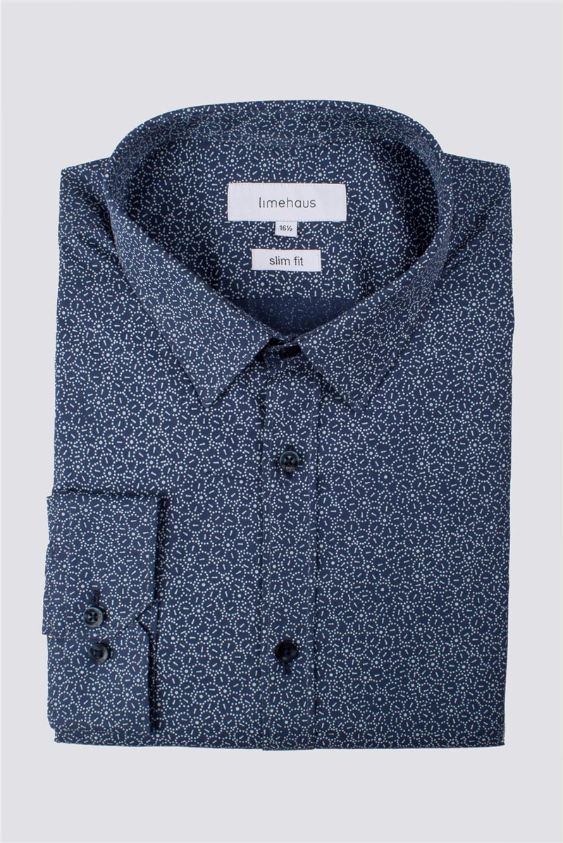Blue Mosaic Floral Slim Fit Shirt