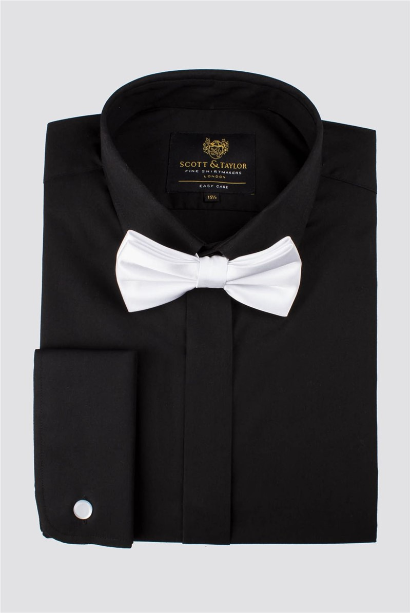 Black Poplin Shirt with White Bow Tie