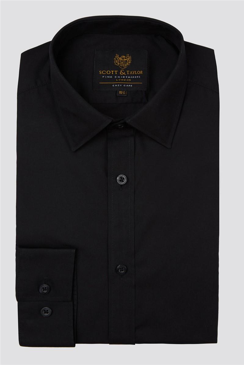 Scott & Taylor Black Poplin Mens Shirt