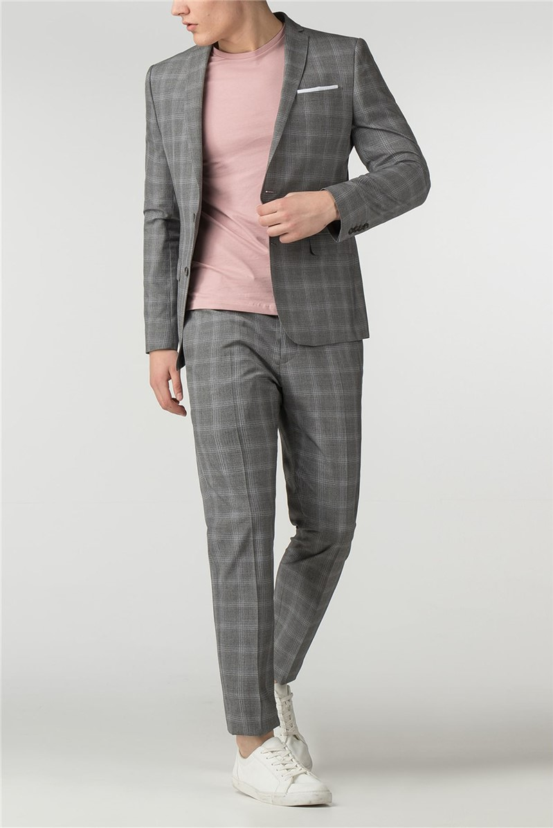 Light Grey Check Skinny Fit Suit