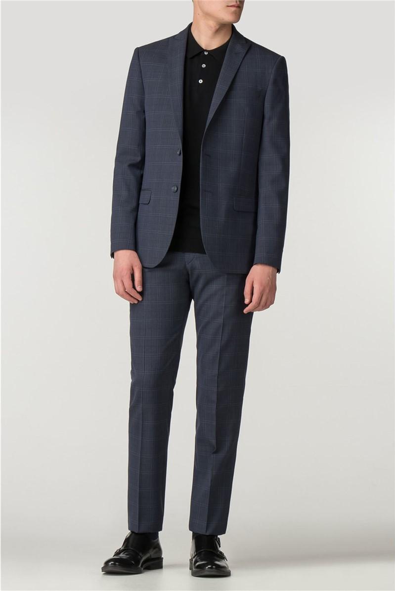 Navy/Black Check Slim Fit Suit