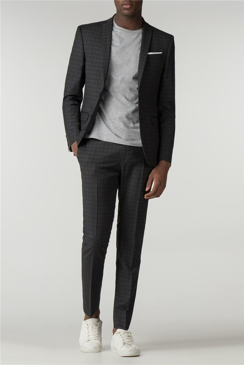 Charcoal Square Skinny Fit Suit
