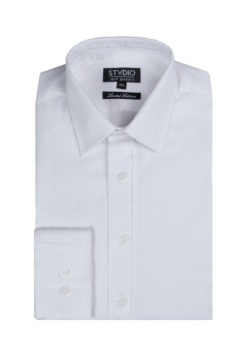 Stvdio White Floral Jacquard Print Shirt