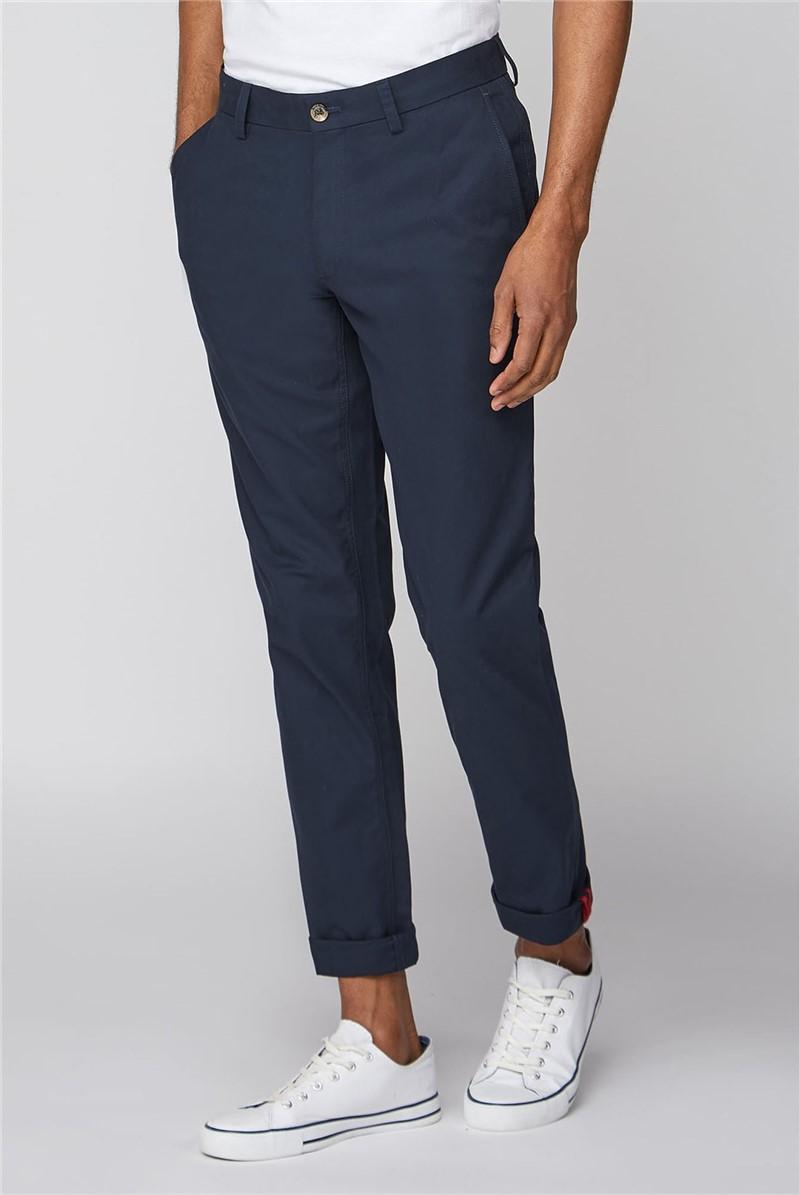 Navy Straight Leg Chino Trousers