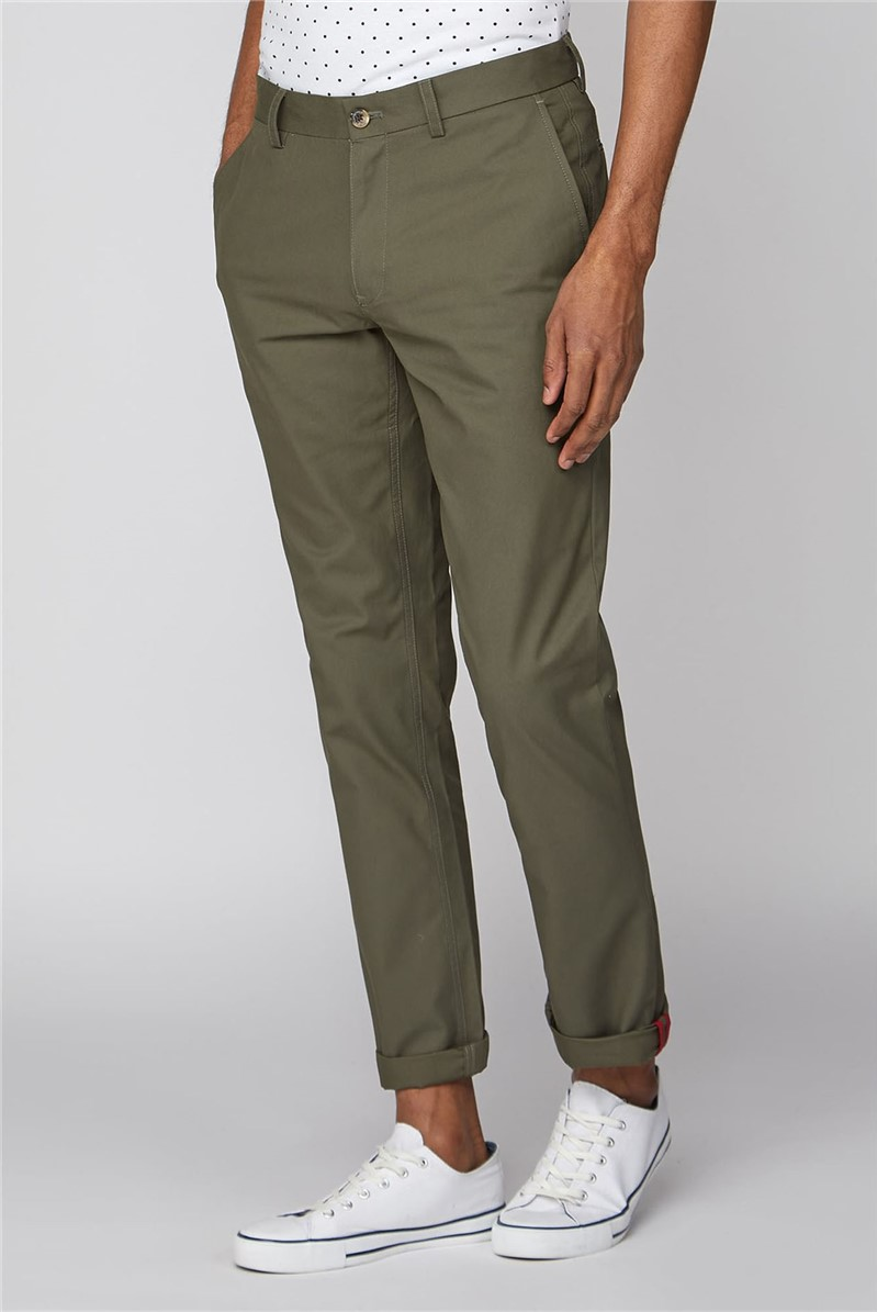 Olive Green Straight Leg Chino Trousers