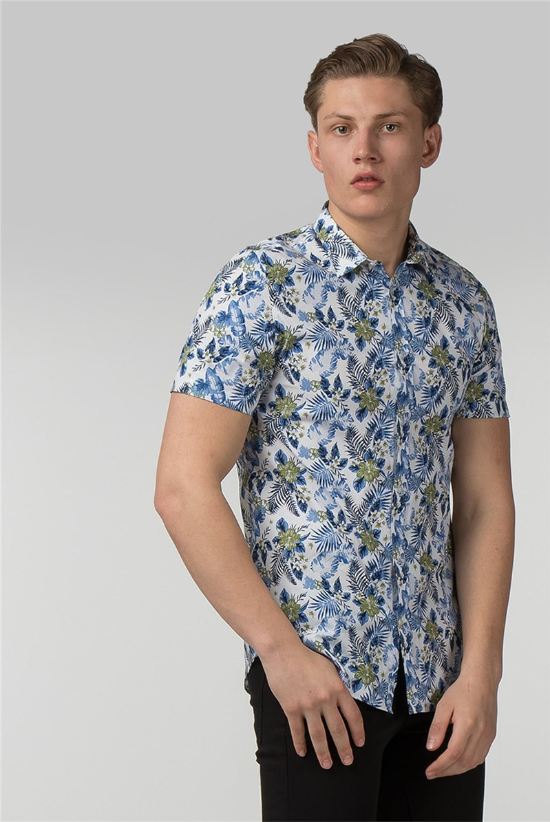Short Sleeve White Hawaiian Print Shirt