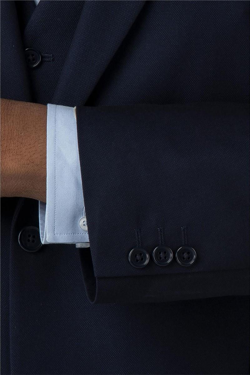 Blue Semi Plain Big and Tall Waistcoat