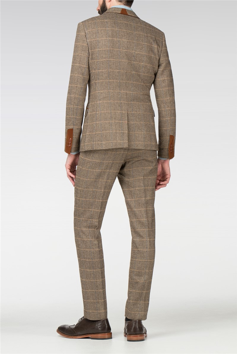 Blake Tan Tweed Check Slim Fit Jacket