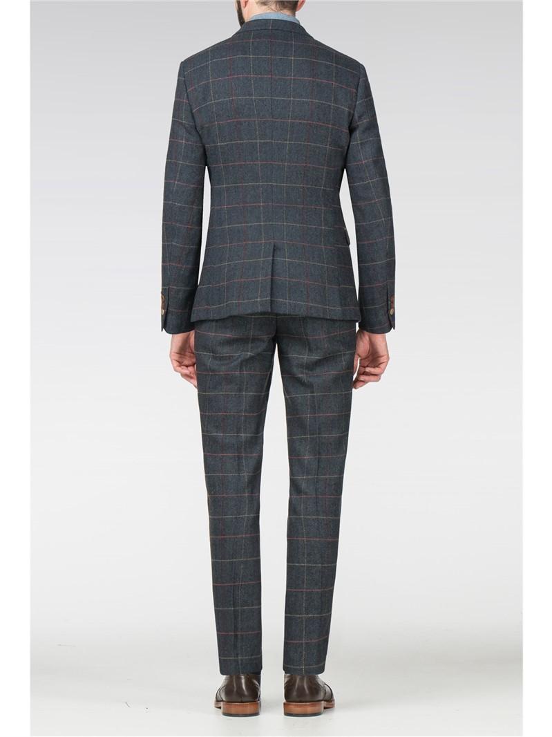 Eton Blue Tweed Check Slim Fit Trouser