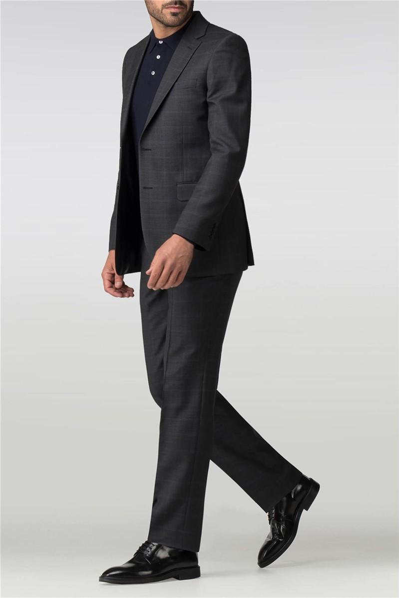 Regular Fit Charcoal Check Suit