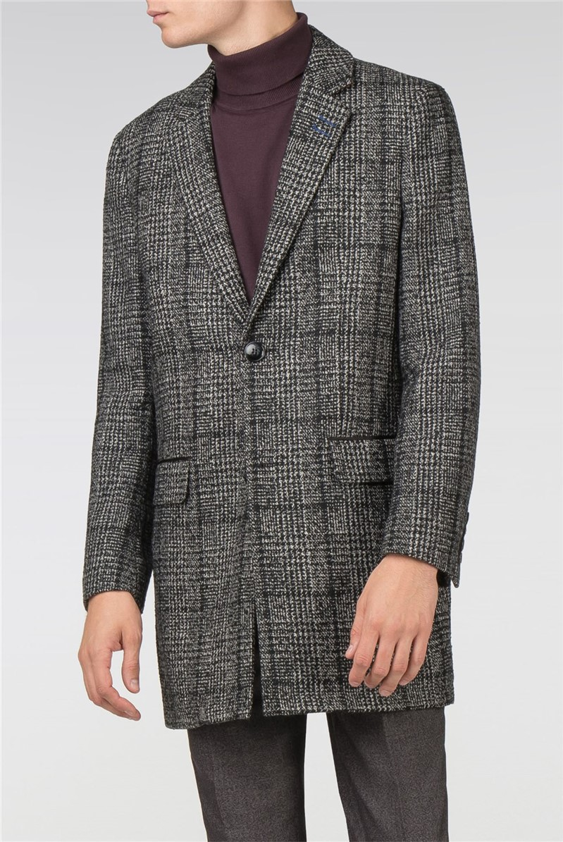 Grey Check Tailor Fit Overcoat