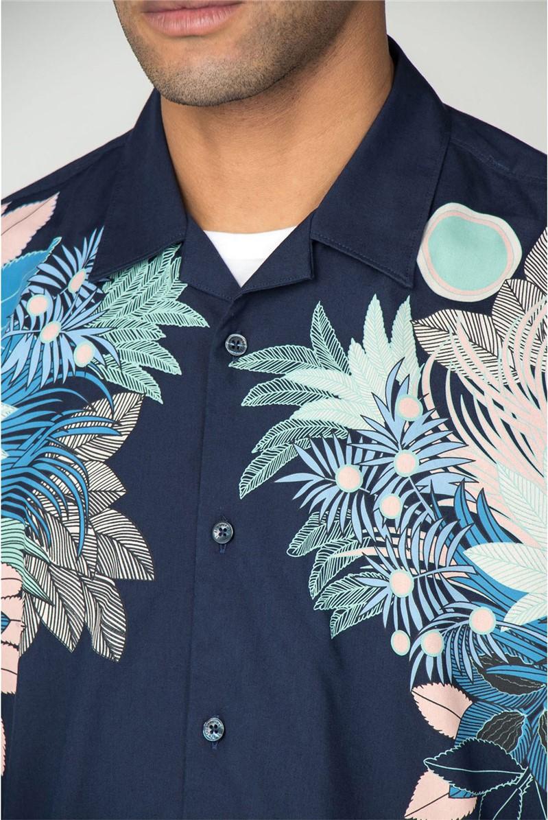 Short Sleeve Viscose Foliage Print Shirt