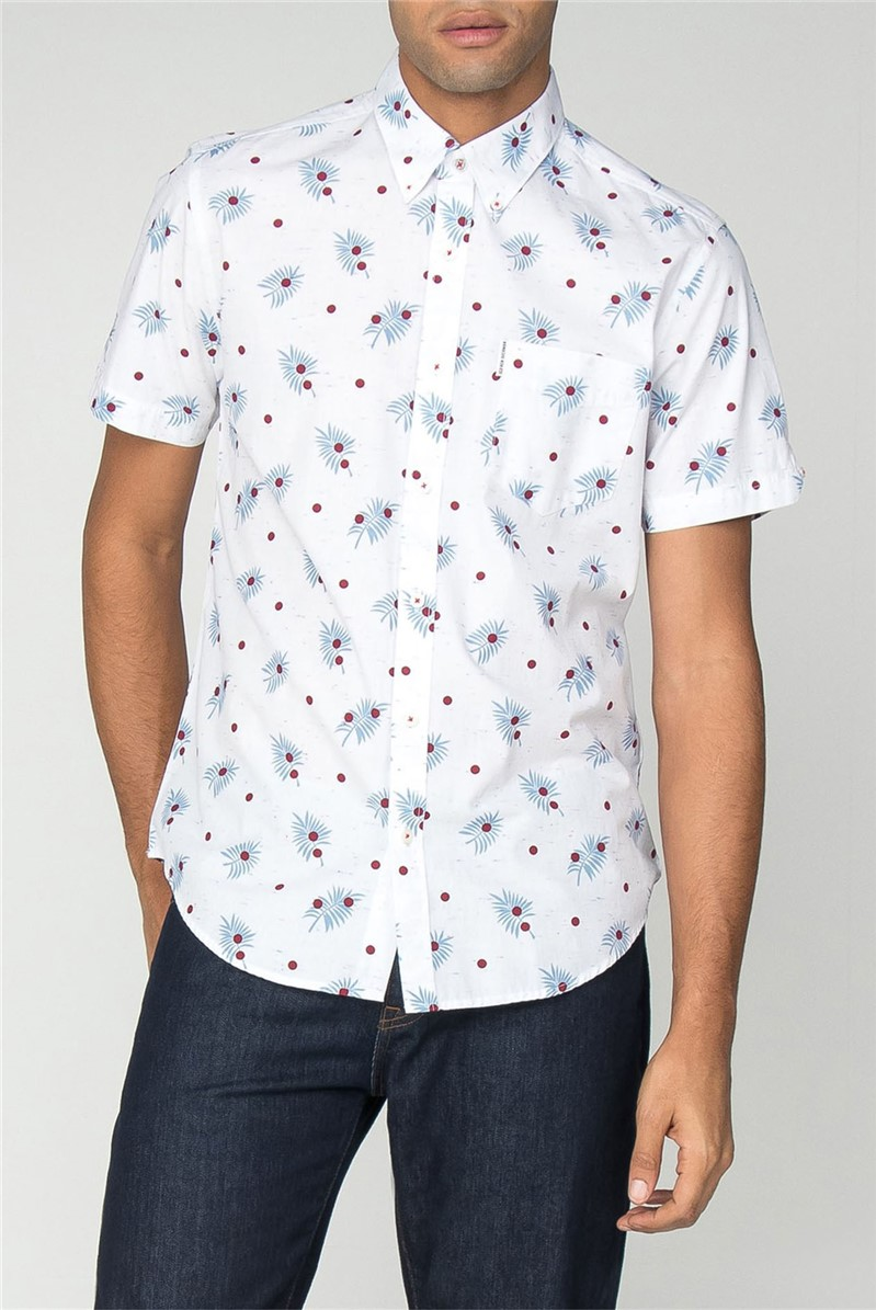 Short Sleeve Scattered Palm Print Shirt