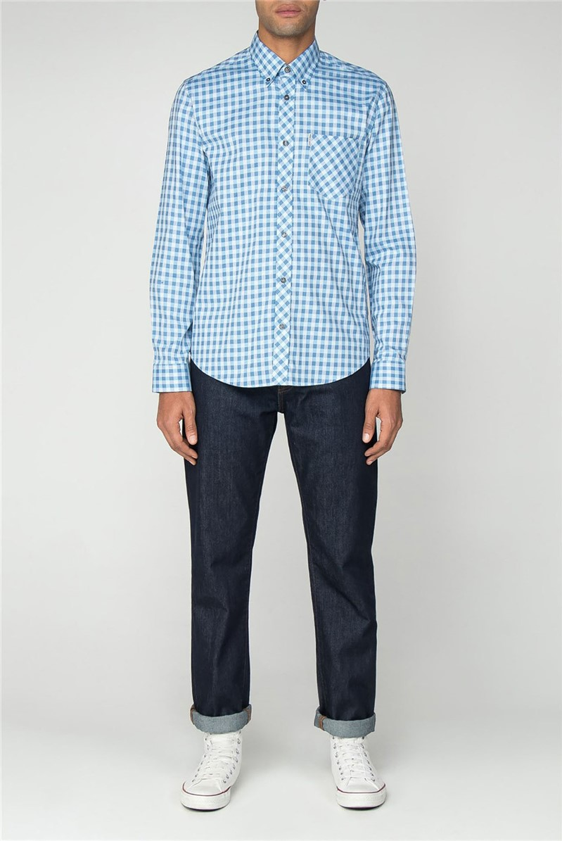 Ben Sherman Main Line LS SATIN STRIPE GINGHAM SHIRT