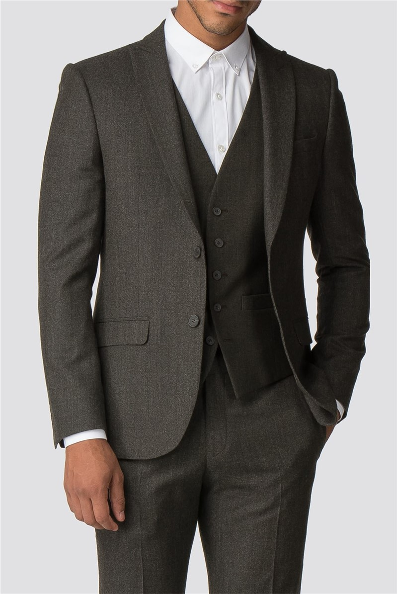 Olive Green Texture Tailored Fit Suit