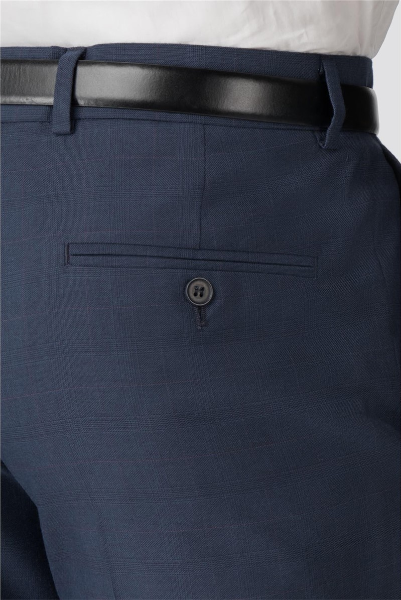 Blue Check Tailored Fit Trouser