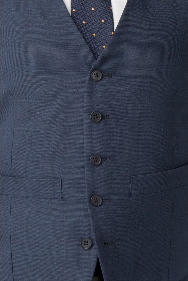 Blue Check Tailored Fit Waistcoat