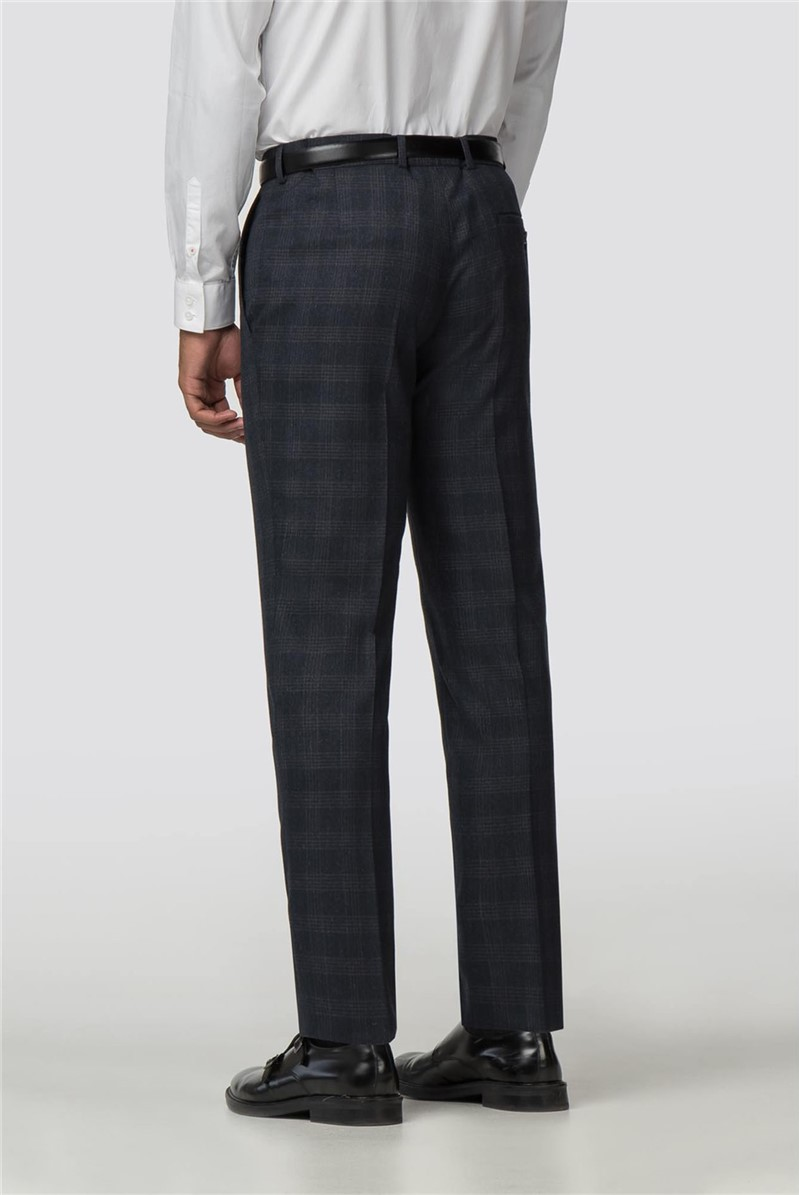 Navy Check Slim Fit Trousers