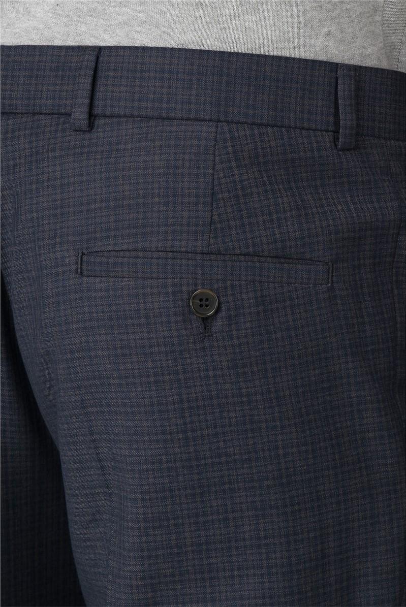 Navy Semi-Plain Skinny Fit Trousers