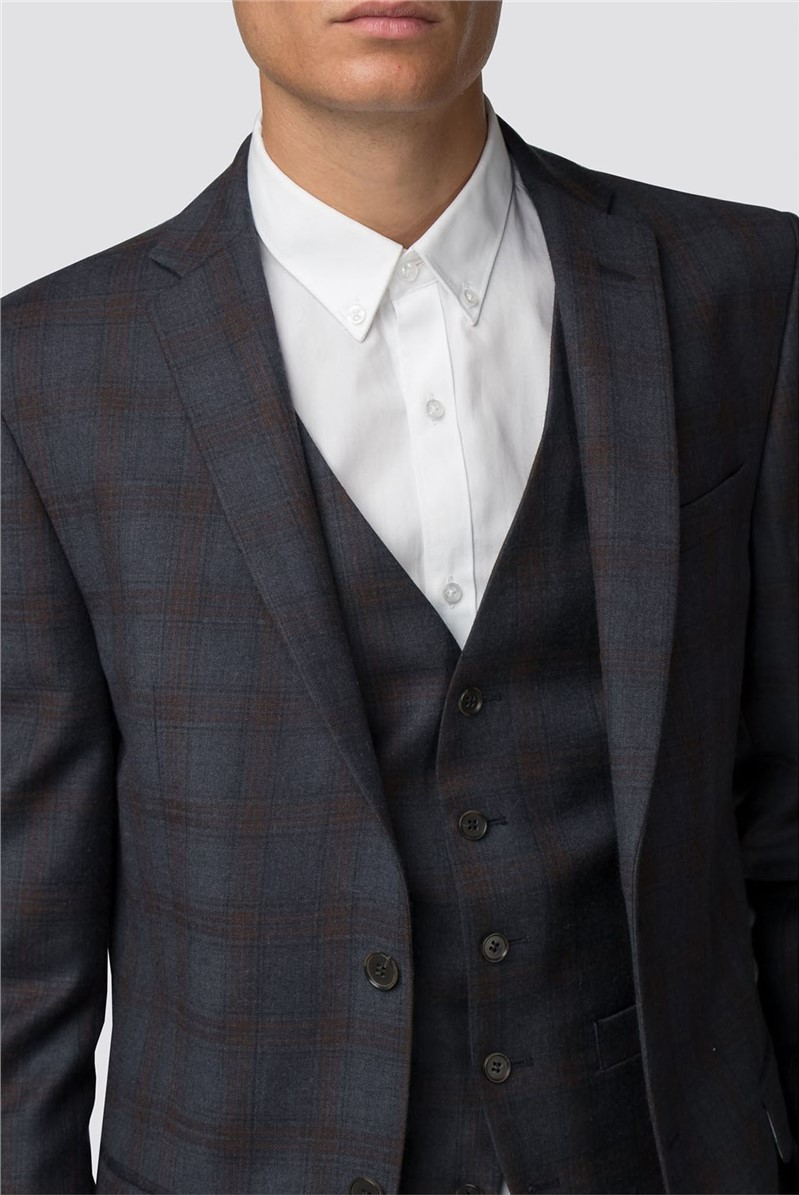 Navy Rust Check Skinny Fit Suit