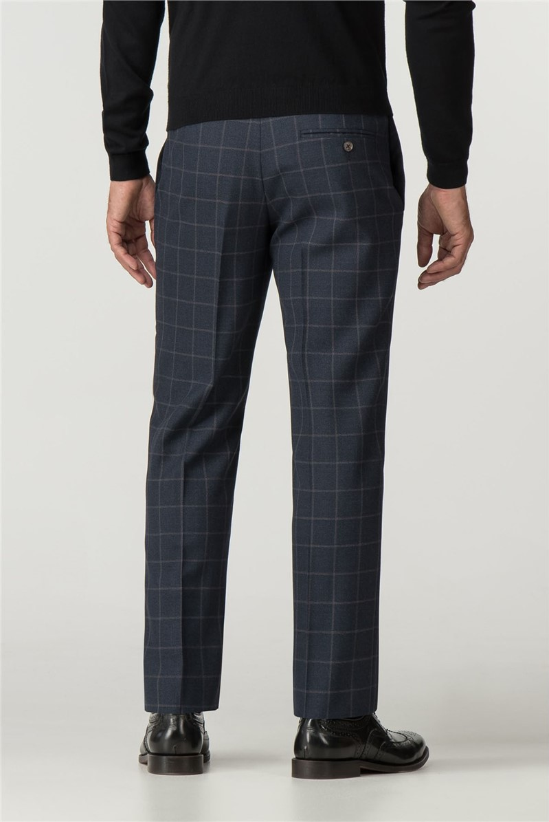 Navy Check Tailored Fit Trouser